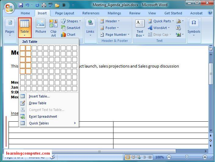 Insert Table Functionality In MS Word
