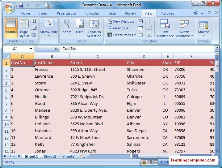 Microsoft tutorial excel 2007   view tab