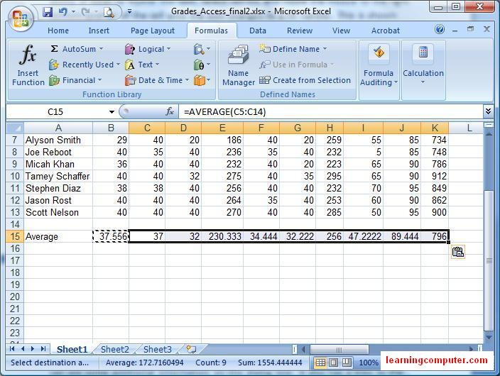 how to use excel 2007 formulas with examples