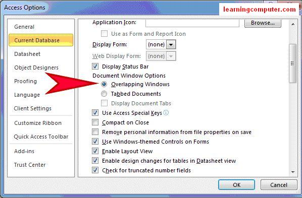 ms access 2010 options7