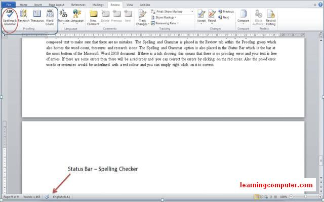 word 2010 spell checker Word review tab10