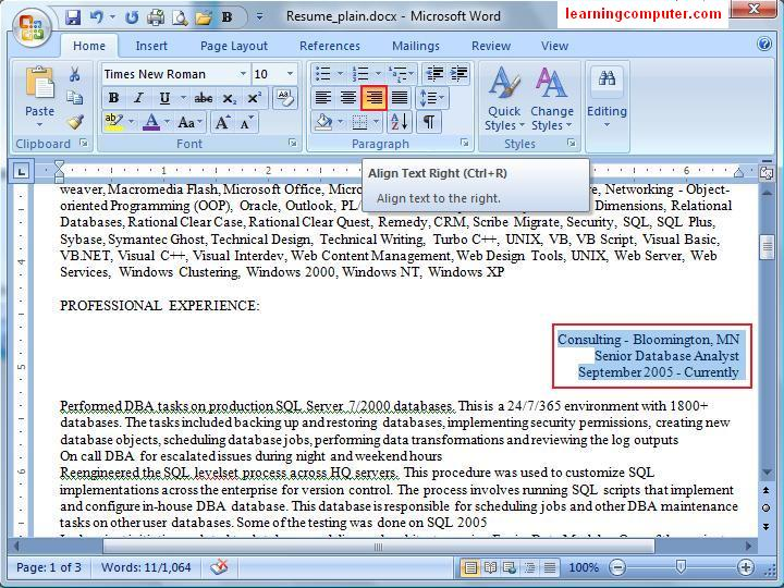 microsoft word 2007  home tab