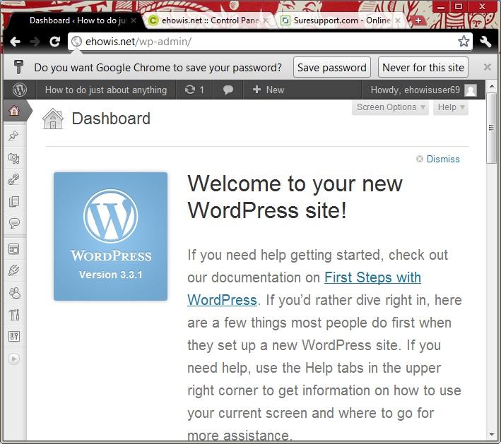 welcome-word-press-dashboard